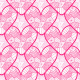 Lace seamless pattern with ornamental hearts. Texture for valentines day wrapping paper, wedding invitation background, textile fa Royalty Free Stock Images