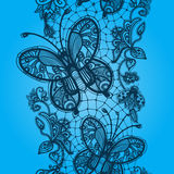 Lace seamless patterns in the form of butterflies and beetles Royalty Free Stock Images