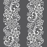 Lace seamless vector pattern, repetitive ornamental textile or embroidery design in white on gray background royalty free illustration