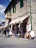 Lace shop, Pano Lefkara. Royalty Free Stock Photography