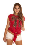 Lace shorts red bow pattern Royalty Free Stock Images