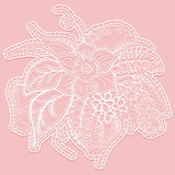 Lace single large flower with leaves. White openwork bouquet isolated on pink background. Royalty Free Stock Images