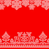 Lace snowflakes borders. Christmas card with white lace winter borders with deer and fir tree on red background Stock Images