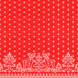 Lace snowflakes borders. Christmas card with white lace winter borders with deer and fir tree on red background Royalty Free Stock Photo