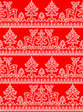 Lace snowflakes borders. Christmas seamless pattern with white lace winter borders with deer and fir tree on red background Stock Photo
