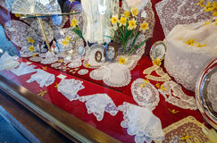 Lace in the souvenir shop, Brussels Royalty Free Stock Images