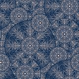 Lace style sophisticated snowflake seamless pattern. Line structure elegant xmas repeatable motif for wrapping paper, wallpaper, fabric stock illustration