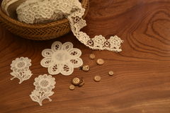 Lace tape in a wicker basket on the table. Fringe or lace tapes in a wicker basket stock image