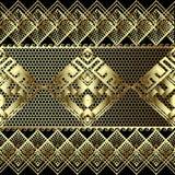 Lace texturerade modellen för gränsen för den guld- vektorn för grek 3d den sömlösa Geometrisk bakgrund för dekorativt rastergall vektor illustrationer