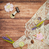 Lace and thread on wooden background Royalty Free Stock Images