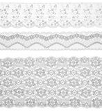 Lace trims ribbon over white. Set of fabric. Royalty Free Stock Photography