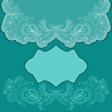 Lace turquoise greeting card with frame Stock Photos