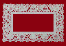 Lace type frame - cake doily, Christmas festive Stock Images