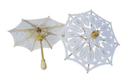 Lace Umbrellas with Sturdy Handle. White Lace Umbrellas with Sturdy Handle - path included Stock Photo