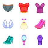 Lace underwear icons set, cartoon style. Lace underwear icons set. Cartoon set of 9 lace underwear vector icons for web isolated on white background Stock Photography