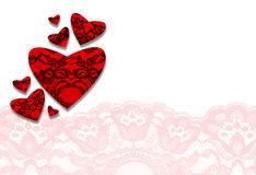 Lace Valentine day hearts. Greeting card vector illustration