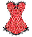 Lace vintage corset. Red lace corset with black lace and jewelery Stock Images