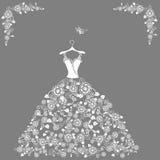 Lace wedding dress vector illustration