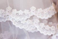 Lace wedding veil of bride. Lace plain white wedding veil of bride with small flowers Stock Images