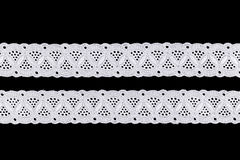 Lace. White Ornamental Lace isolated on black background Royalty Free Stock Photo