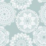 Lace white seamless mesh pattern. Stock Photos