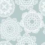 Lace white seamless mesh pattern. Stock Photography