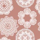 Lace white seamless mesh pattern. Stock Photo