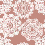 Lace white seamless mesh pattern. Stock Image