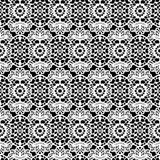 Lace white seamless pattern on black background. Royalty Free Stock Photos