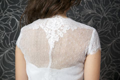 Lace white wedding dress closeup Stock Photos