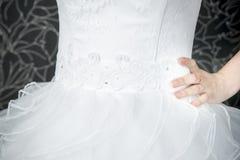 Lace white wedding dress closeup Stock Image