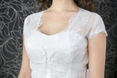 Lace white wedding dress Stock Photo