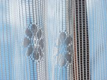 Lace on window blue sky delicate pretty Royalty Free Stock Images