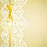 Lace on yellow background Royalty Free Stock Image