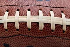 Laced. Close up of football laces Royalty Free Stock Photography