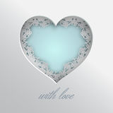 Laced heart with love. Blue heart illustration laced with hearts, lips and cupid`s arrow frame on white background for valentines day or women day greeting card stock illustration