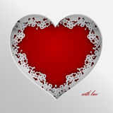 Laced red heart with love. Red heart vector illustration laced with hearts, lips and cupid`s arrow frame on white background for valentines day or women day stock illustration
