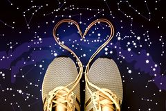 Laced sneaker heart. Constellations, star map. Science astronomy, star map on a blue background, the starry sky. Horoscope stock image