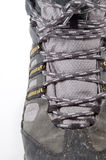Laced up. A hiking boot laced and tied Royalty Free Stock Photos