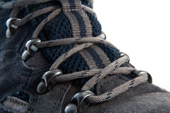 Laced walking boot. Royalty Free Stock Image