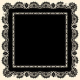 Lacerated Doily. Black lace. Square Frame Royalty Free Stock Photos