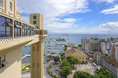 Lacerda Elevator. View from the Elevator Lacerda in Salvador to Lesser Town, market Modelo and the Bay of All Saints Royalty Free Stock Photography