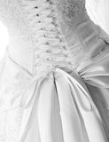 Laces on back of wedding dress. Black and white close-up image of the detailed laces on the back of a wedding dress Royalty Free Stock Photo
