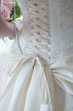Laces on back of wedding dress Royalty Free Stock Photography