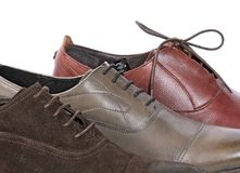 Laces on man's boots. Largely, Macro Royalty Free Stock Image