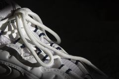 Laces on running shoes Stock Photo