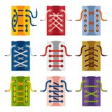 Laces shoes icons isolated on white background. Schemes of tying shoelaces. lacing. Vector illustration Royalty Free Stock Image