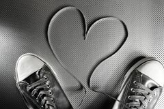Laces of silver shoes Stock Photo