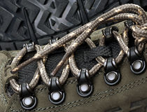 Laces on sneakers on a background of the sole Royalty Free Stock Images