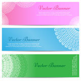Lacework Ornamental Banners Horizontal Set Stock Photography